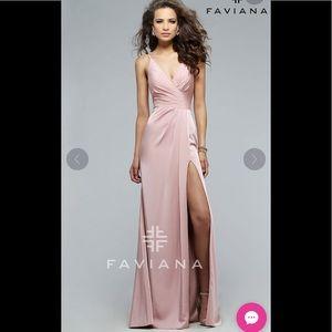 Faviana Ruched-back Prom Dress